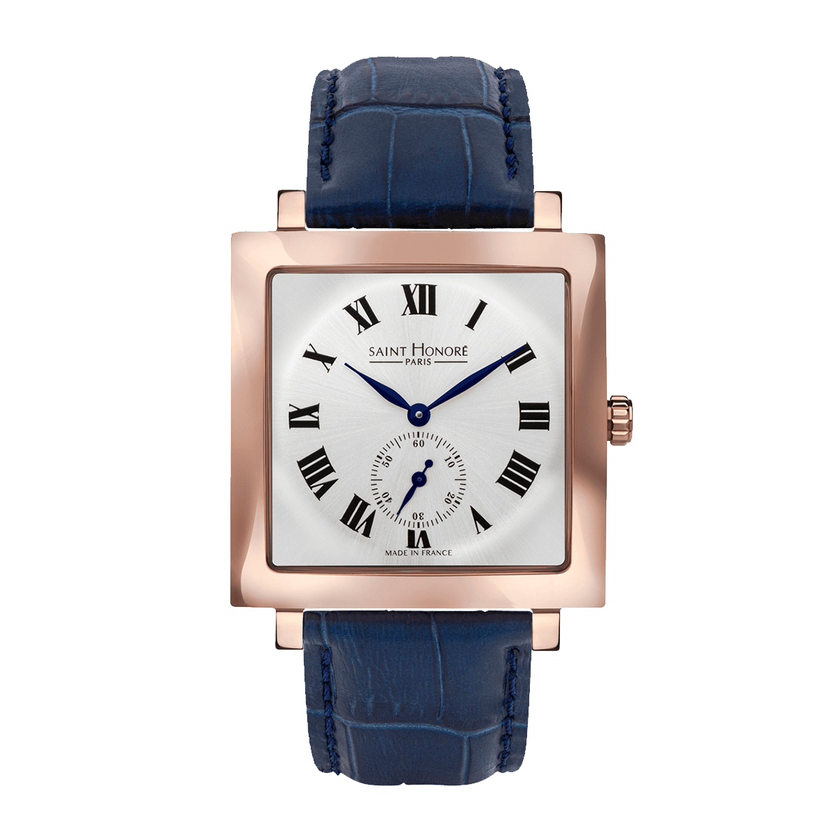 CARREE Men's watch - Square rose gold finish case, silver dial, blue leather strap