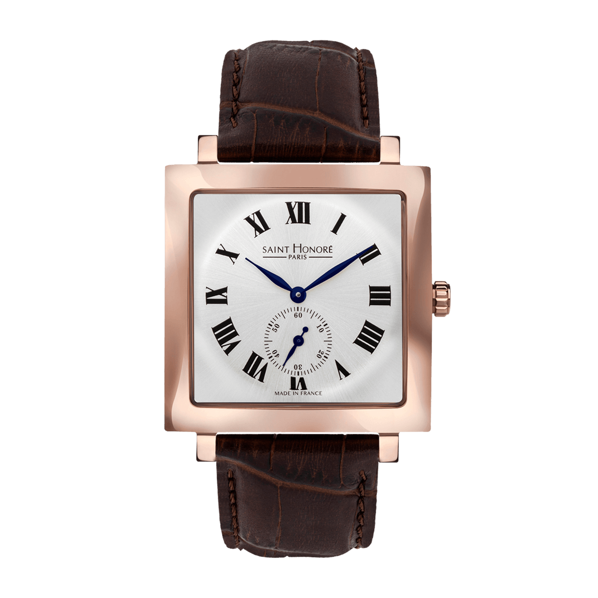 CARREE Men's watch - Square rose gold finish case, silver dial, brown leather strap