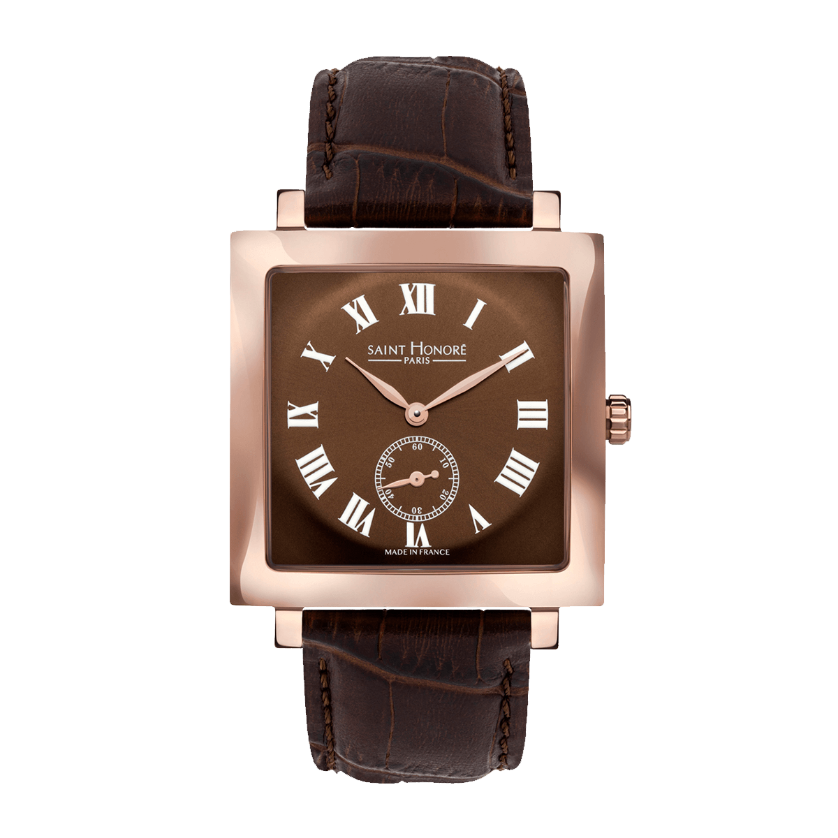 CARREE Men's watch - Square rose gold finish case, brown dial, brown leather strap